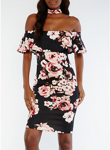 Ruffled Off the Shoulder Floral Choker Dress,BLACK-ROSE,large