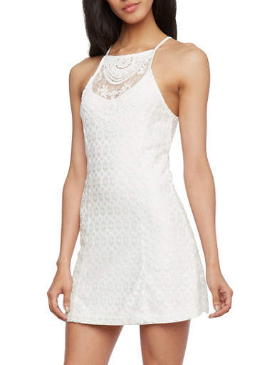 Embroidered Dress with Cutaway Shoulders,WHITE,large