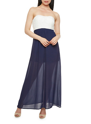 Strapless Maxi Dress with Crochet Bodice and Cutout at Back,IVORY/NAVY,large