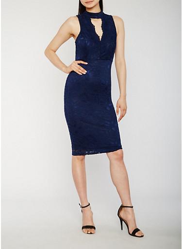 Sleeveless Lace Midi Dress with Keyhole,NAVY,large