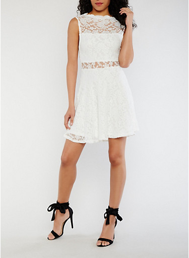 Sleeveless Lace Skater Dress,WHITE,large
