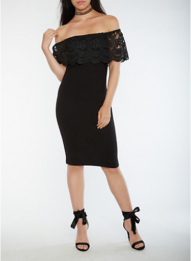 Mid Length Off the Shoulder Bodycon Dress with Crochet Overlay,BLACK,large