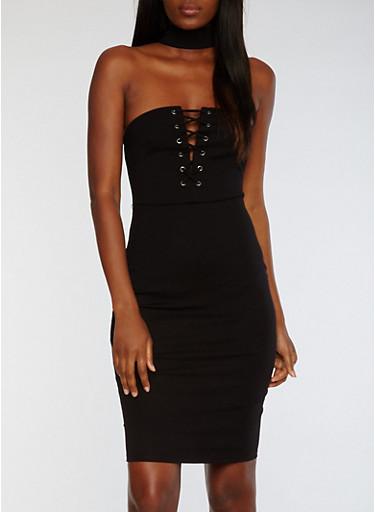 Sleeveless Choker Neck Dress with Lace Up Front,BLACK,large