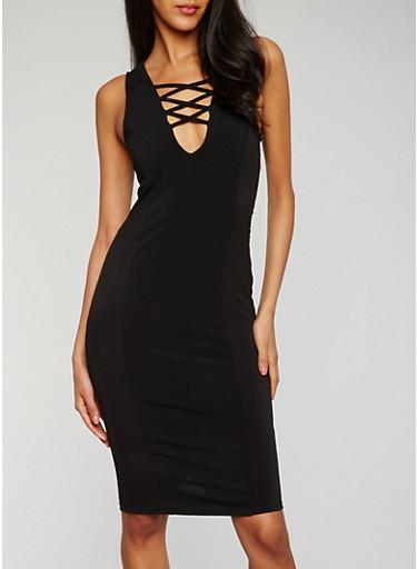 Sleeveless Caged Bodycon Dress,BLACK,large