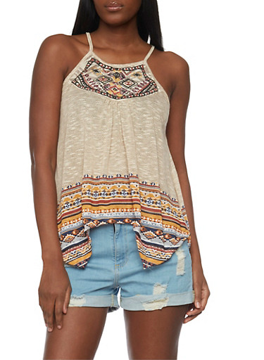 Sleeveless Printed Crochet Yoke Tank Top with Sharkbite Hem,TAN,large