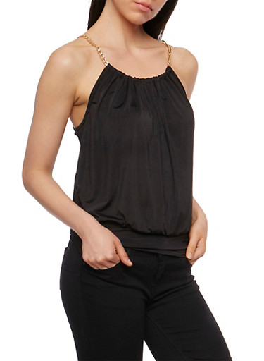 Gold Chain Tank Top with Keyhole Back,BLACK,large