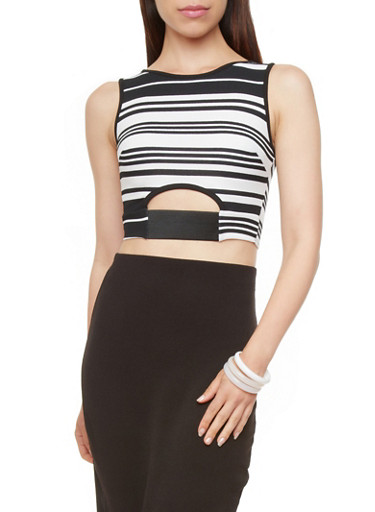 Striped Crop Top with Cutout Front,BLACK,large