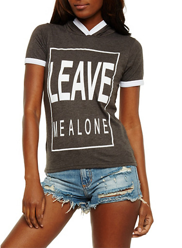 Leave Me Alone Graphic Ringer Top,CHARCOAL,large