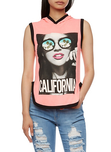 Sleeveless California Graphic Top with Hood,NEON PINK,large