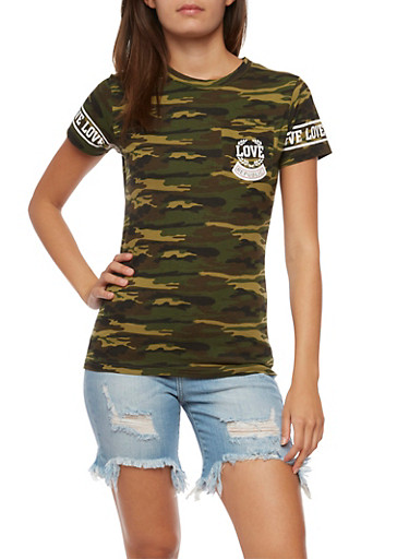 Love Camo Graphic T Shirt,OLIVE,large