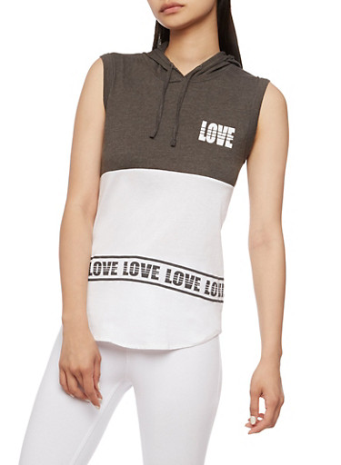 Sleeveless Love Graphic Top with Hood,CHARCOAL,large