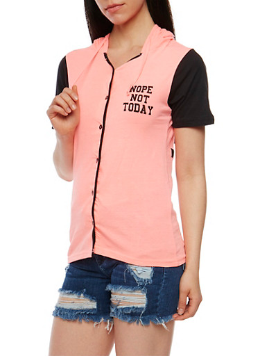 Nope Not Today Graphic Short Sleeve Button Front Top,NEON PINK/BLK,large