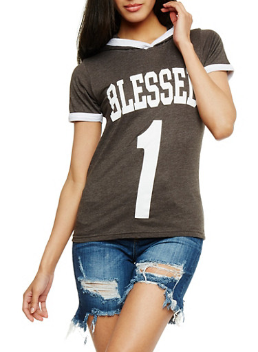 Blessed 1 Graphic Short Sleeve Ringer Top,CHARCOAL,large