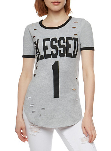Blessed 1 Graphic Lasercut T Shirt,HEATHER,large