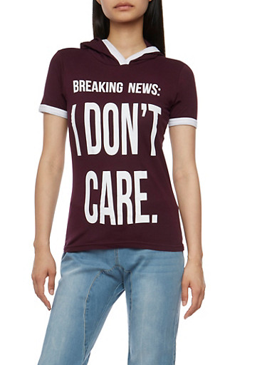 I Dont Care Graphic Hooded Top,PLUM,large