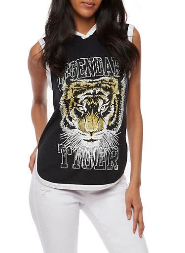 Hooded Legendary Tiger Graphic Top,BLACK,large