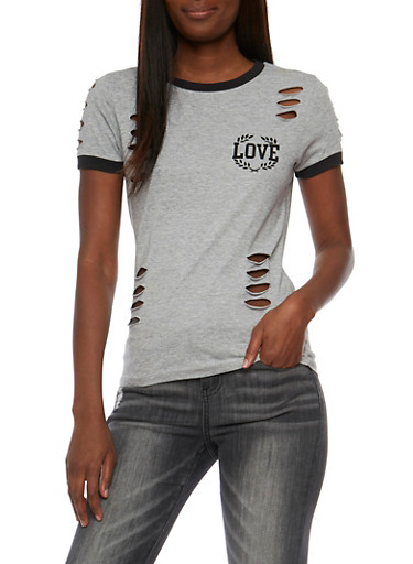 Love Graphic T Shirt with Laser Cut Detail,HEATHER,large