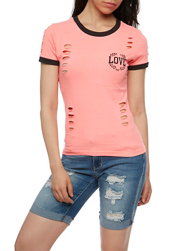 Love Graphic T Shirt with Laser Cut Detail,NEON PINK,large