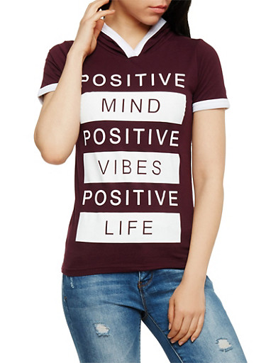 Positive Vibes Graphic Hooded Top,PLUM,large