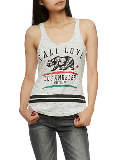 Cali Love LA Graphic Tank Top,OATMEAL,large