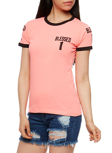 Blessed 1 Graphic Short Sleeve T Shirt,NEON PINK,large