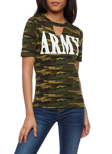 Army Graphic Keyhole T Shirt,OLIVE,large
