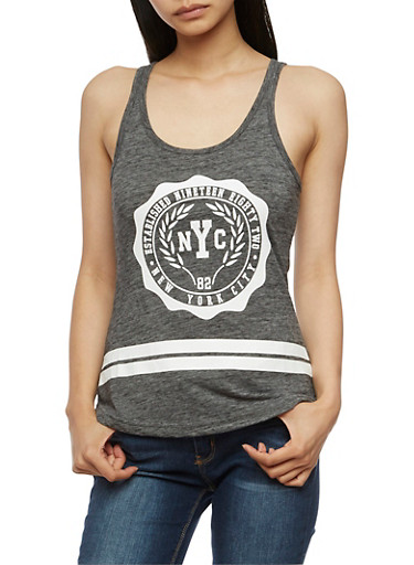 NYC Graphic Tank Top,GRAY,large