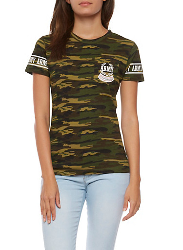 Army Camo Graphic T Shirt,OLIVE,large