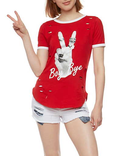 Laser Cut Boy Bye Graphic T Shirt,RED,large