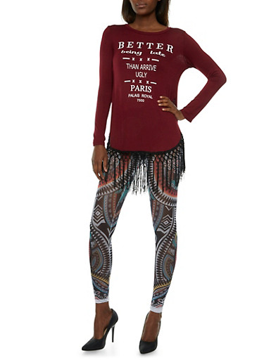 Macrame Fringe Top with Better Being Late Than Arrive Ugly Graphic,BURGUNDY,large