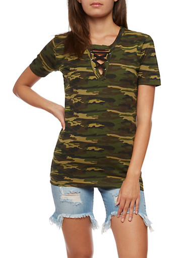 Camo Lace Up Keyhole T Shirt,OLIVE,large