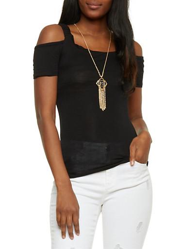 Solid Cold Shoulder Top with Necklace,BLACK,large