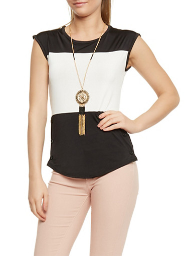 Colorblock Button Detail Top with Necklace,BLK/IVY,large
