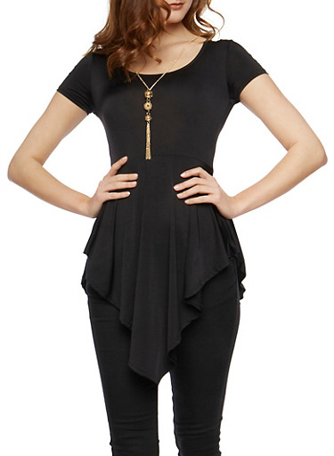 Short Sleeve Asymmetrical Tunic Top with Necklace,BLK/IVY,large