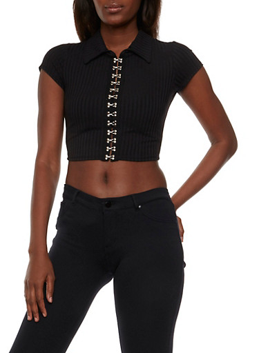 Rib Knit Crop Top with Hook and Eye Closures,BLACK,large