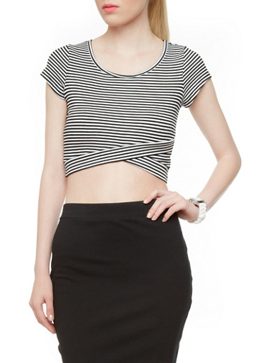 Striped Crop Top with Crossover Hem,BLACK/WHITE,large