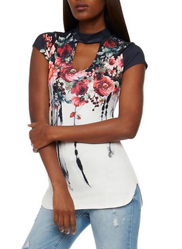 Short Sleeve Floral Border Print Choker Neck Top,WHT/RED/BLK,large