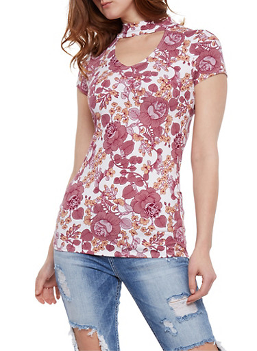 Short Sleeve Floral Choker Top,WHITE,large