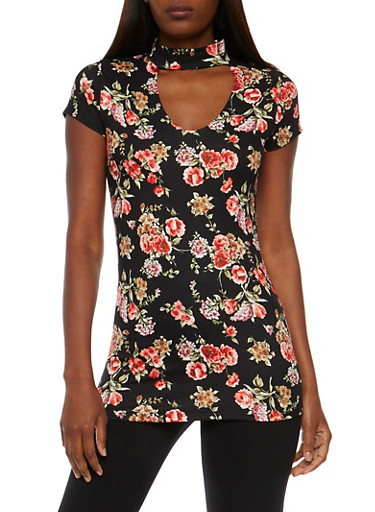 Floral  V Neck Choker Neck Top,BLACK,large