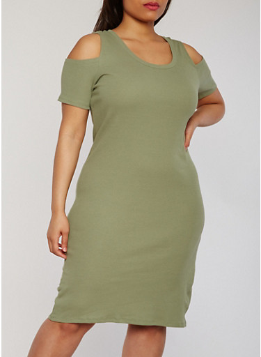 Plus Size Cold Shoulder Rib Knit T Shirt Dress,OLIVE,large