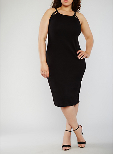 Plus Size Rib Knit Tank Dress with Cutouts,BLACK,large