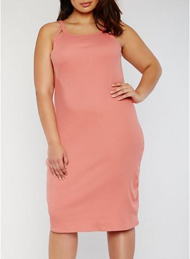 Plus Size Rib Knit Tank Dress with Cutouts,DUSTY ROSE,large