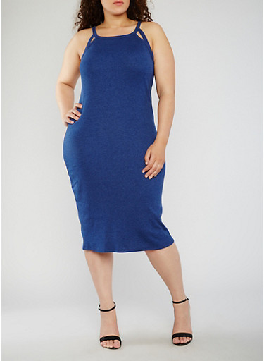 Plus Size Rib Knit Tank Dress with Cutouts,ALLURE,large