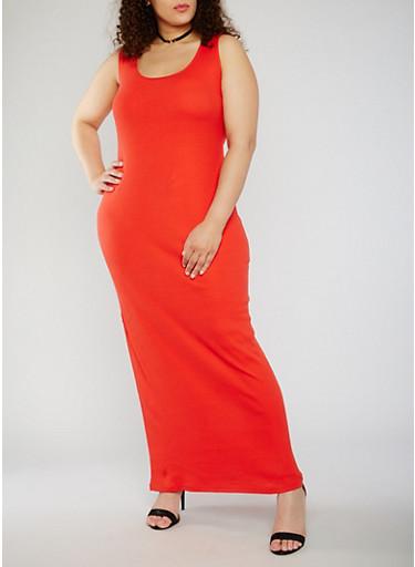 Plus Size Sleeveless Scoop Neck Maxi Tank Dress,TOMATO,large