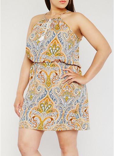 Plus Size Sleeveless Paisley Print Dress,RUST/GOLD,large