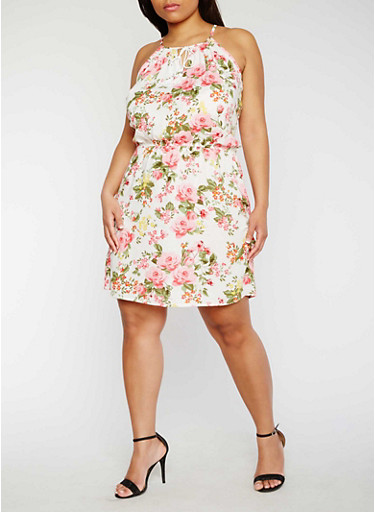 Plus Size Sleeveless Floral Print Dress,IVORY,large