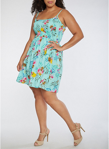 Plus Size Smocked Tropical Tank Dress,MINT,large
