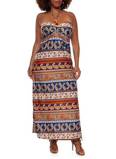 Plus Size Strapless Maxi Dress with Beaded Accents,RUST MULTI,large