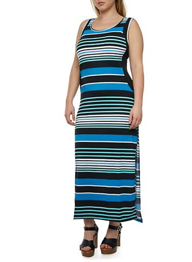 Plus Size Striped Maxi Dress,AQUA,large