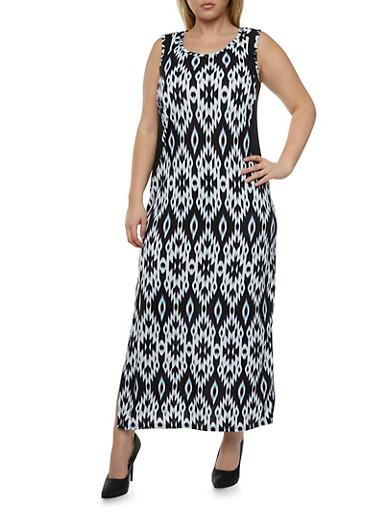 Plus Size Printed Maxi Dress with Illusion Side Panels,BLACK/WHITE,large
